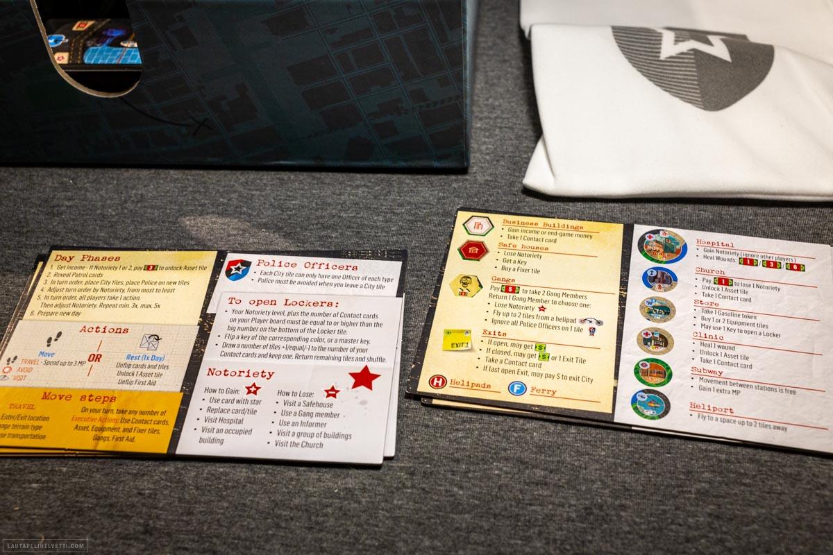 Jokaiselle pelaajalle on mukana myös kattava muistilappu pelin eri osioiden käyttöä varten.